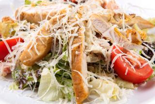 Caesar salad with chicken breast