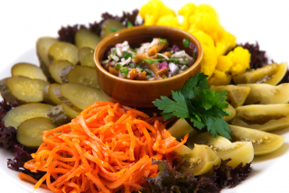 Plate with pickled vegetables