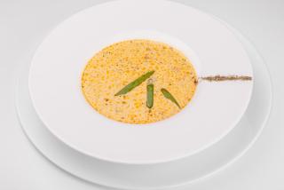 Norwegian creamy soup with salmon.