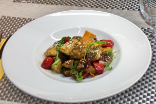 Pike perch with vegetable saute