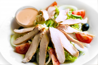 Salad of grilled chicken breast