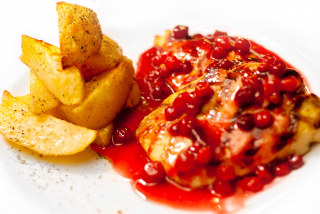 Chicken breast with cranberry sauce