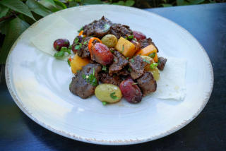 """""""Rtveli"""" salad with chicken liver, ripe grapes and marinated pumpkin"""
