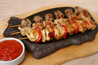 Colorful skewers grill