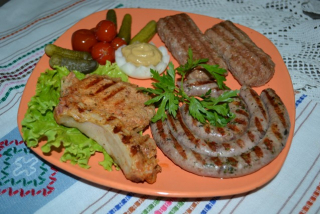 Grilled meat from grill
