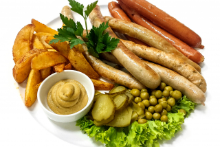 Assorted sausages with Mexican potatoes