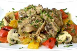 Rabbit meat with vegetables