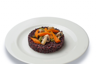 Black rice with steamed vegetables