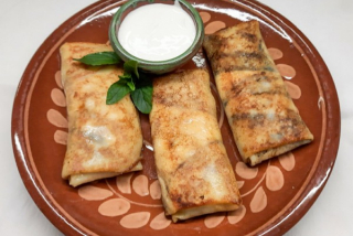 Pancakes with salted cheese