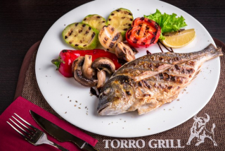 Dorado grilled with vegetables