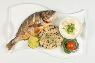 Дорада с грибным соусом и рисом