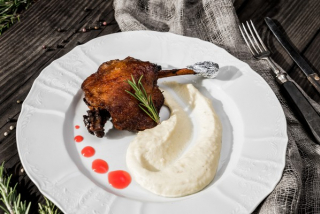 Duck Confit wish Cheese Puree