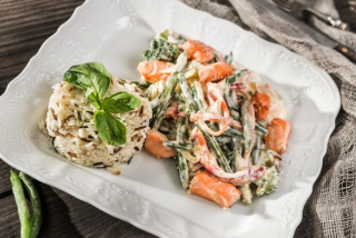 Salmon fricassee with rice