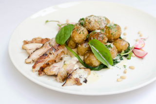 Rabbit with potatoes and spinach