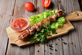 Shashlyk pork with spicy sauce