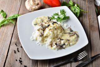 Risotto with mushroom sauce