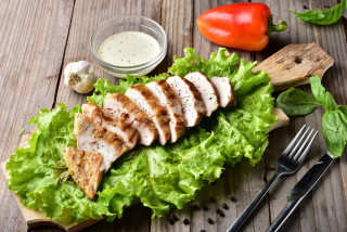 Meat chicken grilled with sauce cacık
