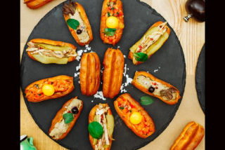 Eclairs with duck rillettes