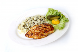 Fillet of chicken with boiled rice