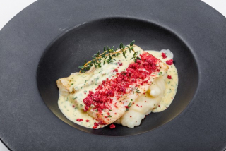 """Fillet of Pike Perch """"sous-vide"""" with """"Beur Monte"""" sauce on mashed potatoes"""