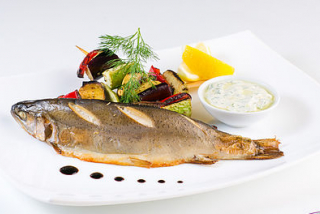 Trout with roasted vegetables