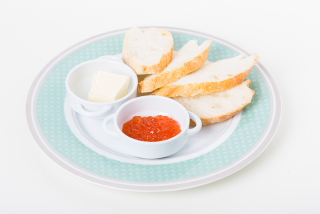 Red caviar on toast with butter
