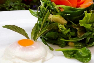 Salad with egg poached, avocado and salmon