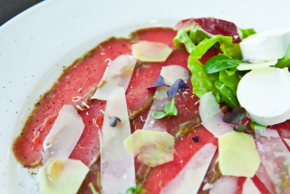 Beef carpaccio with ginger goat cheese