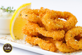 Breaded squid rings with sesame sauce