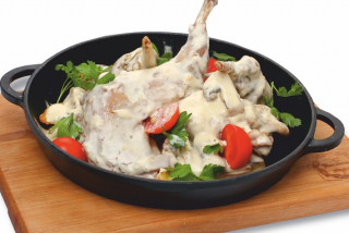 Rabbit with Mushrooms in Frying Pan