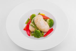 Chicken meatballs with saute vegetables