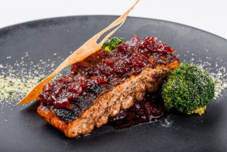 Grilled Salmon with cranberry sauce and onion marmalade