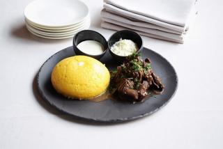 Mămăligă(Polenta) with rustic beef stew