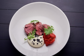 Beef medallion with sweet pepper and parmesan mousse