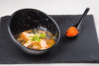 Miso with salmon