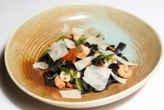 Black Papardelle with seafood