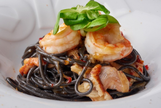 Pasta Nero with shrimps and eel