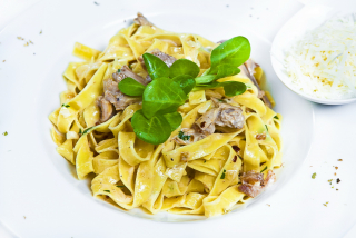 Fettuccine with rabbit meat