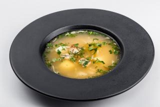 Rassolnik with rice and chicken