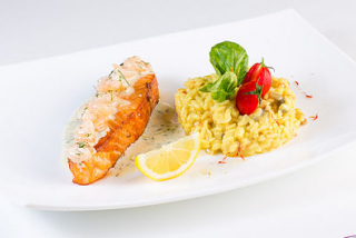 Risotto Milanese with salmon in shrimp sauce
