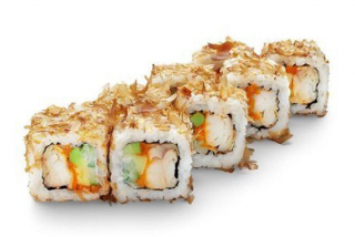 Roll with baked perch