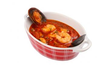 Saganaki with seafood
