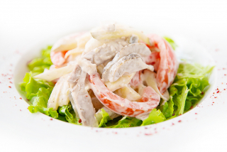 Salad with boiled pork