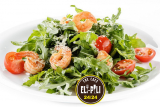 Arugula salad with shrimp