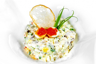 Olivier salad with salmon