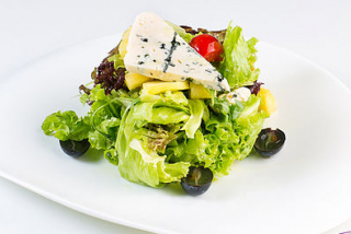Salad with cheese  Dorblu and pineapple
