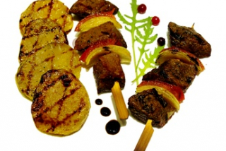 Shish kebab from marbled beef