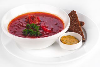 Soup with beef, with lard and toast
