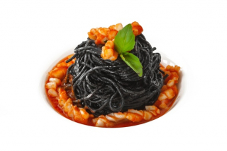 Spaghetti with cuttlefish ink and seafood