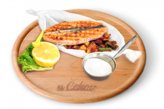 Salmon steak grilled with vegetables saute